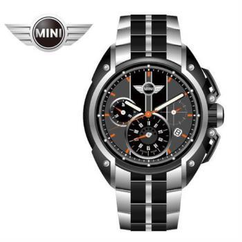 MINI手錶/腕錶 暗夜燭光三眼四點日期窗石英計時雙色鍊帶手錶 45mm MINI-26