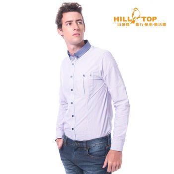 hilltop山頂鳥 男款吸濕排汗抗UV抗菌長袖襯衫/藍紅直條紋
