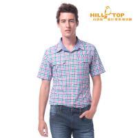 【hilltop山頂鳥】男款吸濕排汗抗UV短袖襯衫S06M61紅綠格