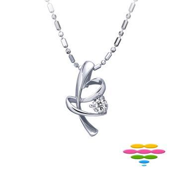 彩糖鑽工坊  愛心蝴蝶結 9-11分 鑽石項鍊 愛連結Linking love系列