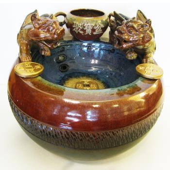【開運陶源】大(雙貔貅)漩渦流水盆聚寶盆 風水輪 時來運轉流水盆