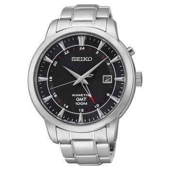 SEIKO Kinetic 雙時區簡約時尚腕錶 黑 44mm 5M85-0AC0D SUN033P1