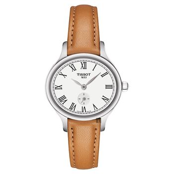 TISSOT天梭 BELLA ORA PICCOLA 系列小秒針女錶 白x卡其色 27mm T1031101603300