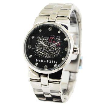 HELLO KITTY 凱蒂貓晶鑽腕錶 黑x銀 34mm HKRC68L-03C