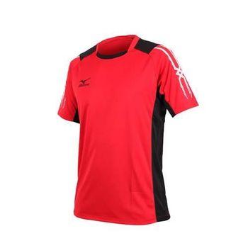 【MIZUNO】男足球短袖T恤-短T 紅黑