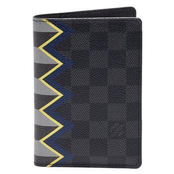 LV N60040 KARAKORAM系列經典Damier棋盤格護照夾(黑灰格)