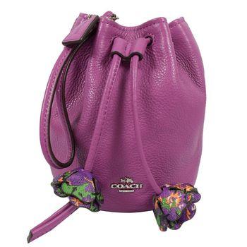 COACH 56581 馬車LOGO皮革花朵束口MINI水桶手挽包.紫