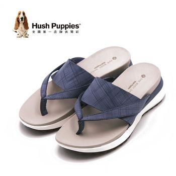 Hush Puppies IVA AZALEA系列 淑女格紋夾腳拖鞋-淺藍