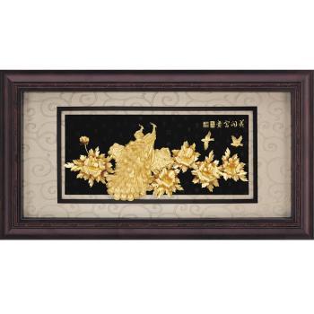【開運陶源】純金*盛景系列*牡丹孔雀(花開富貴)...133x69cm