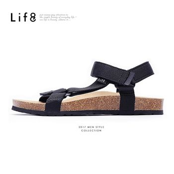 Life8 - Casual 織帶 牛皮墊 可調式記憶涼拖鞋-黑色-09625