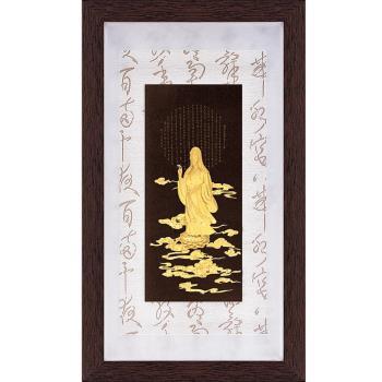 【開運陶源】金箔畫 黃金畫純金彩金系列~觀音佛像心經....48 x 82 cm