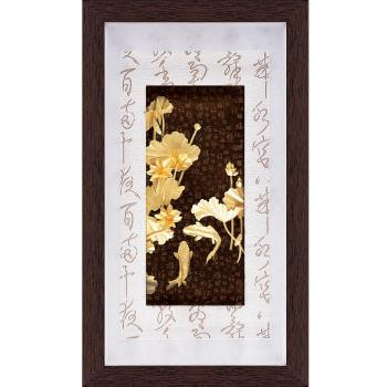 【開運陶源】金箔畫 黃金畫純金彩金系列~連年有餘....48 x 82 cm