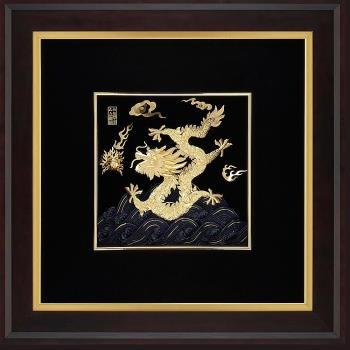 【開運陶源】金箔畫 黃金畫純金 ~祥龍獻瑞(右幅) 飛黃騰達純金龍