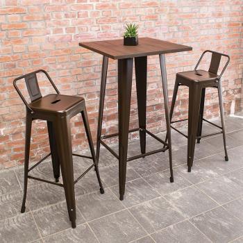 Bernice-艾客2尺工業風高吧台桌椅組(一桌二椅)