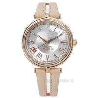 Vivienne Westwood / VV168SLPK / 唯美璀璨之星真皮手錶 銀x玫瑰金框x粉膚 35mm