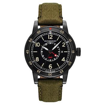 BURBERRY Utilitarian 系列GMT 二地時區腕錶 黑x軍綠錶帶 42mm BU7855