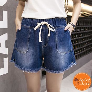 SCL B1720 鬆緊綁帶毛邊輕鬆穿深淺兩色牛仔短褲 S - XXXXL