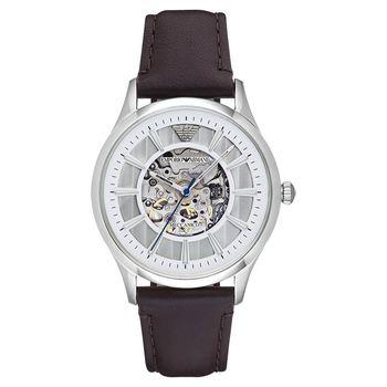 Emporio Armani Meccanico 雅爵鏤空機械腕錶 銀x咖啡 43mm AR1946