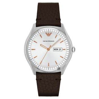 Emporio Armani 紳士型男腕錶 銀x咖啡 43mm AR1999