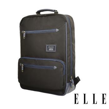 ELLE 城市都會休旅系列 大容量多隔層機能收納13吋筆電休閒手提/後背包 -黑色