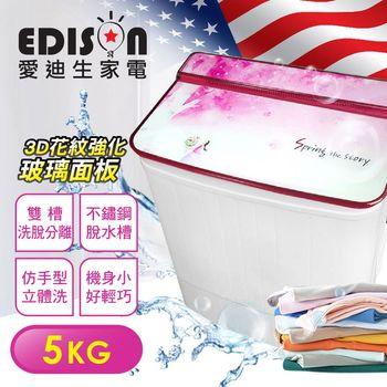 【EDISON 愛迪生】5KG 洗脫雙槽迷你洗衣機-春櫻風情(E0711-S)