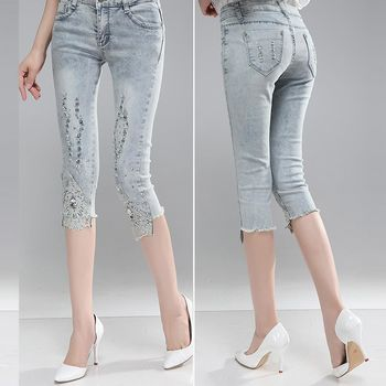 A3 韓版激瘦-水鑽蕾絲單寧刷色彈性七分褲(M-XXL)