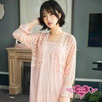 天使霓裳 罩衫 綴花紛紛 蕾絲氣質二件式少女居家睡衣(粉F) YQ818