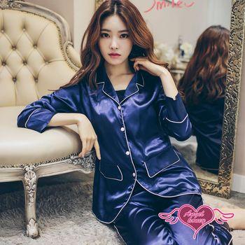 天使霓裳  居家睡衣 夜色靜謐 二件式長袖襯衫式成套休閒服(深藍F) UC8102