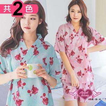 天使霓裳 居家睡衣 金魚悠游 二件式日系綁帶短袖成套休閒服(共兩色F) UC8002