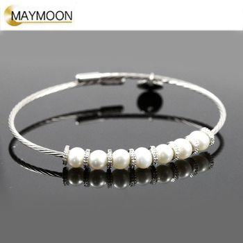 美玥珠寶 經典扭繩-淡水珍珠鑽石手鍊