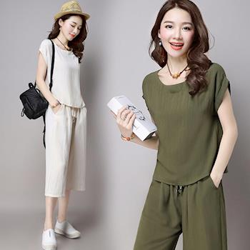 LANNI藍尼 韓版氣質素色棉麻套裝