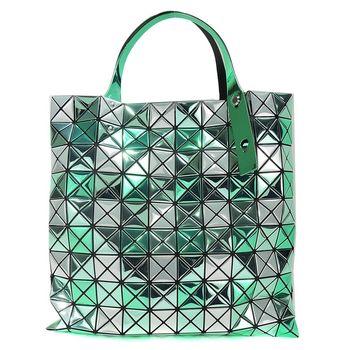 ISSEY MIYAKE 三宅一生BAOBAO鏡面三色方格10x10肩背包(綠銀)