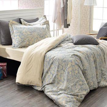 義大利La Belle 雙人純棉防蹣抗菌吸濕排汗兩用被床包組  諾曼亞