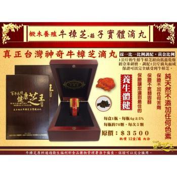 【百年永續健康芝王】椴木養殖牛樟芝(菇)子實體滴丸 (4g / 盒)