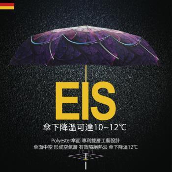 【德國kobold酷波德】抗UV降溫12度-隱形傘骨-萬花鏡遮陽防曬降溫傘 -雙層三折傘-盛開紫