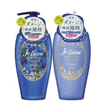 日本高絲KOSE Je laime胺基酸洗髮精.潤髮乳 -(深藍色)滋潤保濕 500ml x1入