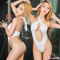 Anna Mu 情趣連身衣 綁頸美背式高衩-白色
