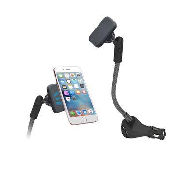 【IS愛思】CA-MH2U 雙孔USB輸出車充磁吸式車用手機支架