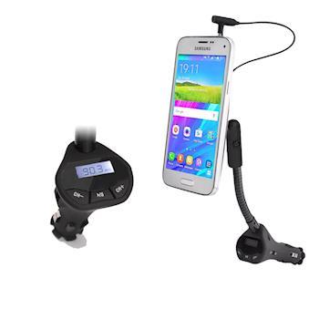 【IS愛思】CA-1UFM 點菸孔USB充電FM音頻發射器二合一磁吸式車用手機支架