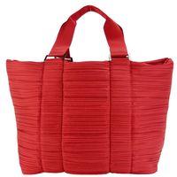 ISSEY MIYAKE 三宅一生 PLEATS PLEASE QUILTING素面褶紋肩背/托特旅行包袋(大/紅)