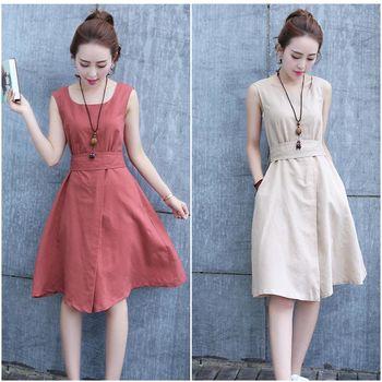 Moriya 夏季棉麻收腰無袖洋裝三色FD364