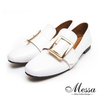Messa米莎專櫃女鞋- MIT雅痞率性金屬飾兩穿樂福鞋-二色