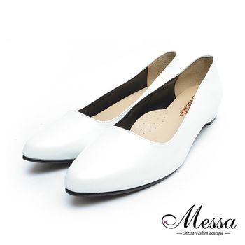 【Messa米莎專櫃女鞋】MIT典雅簡約內真皮尖頭低跟包鞋-三色