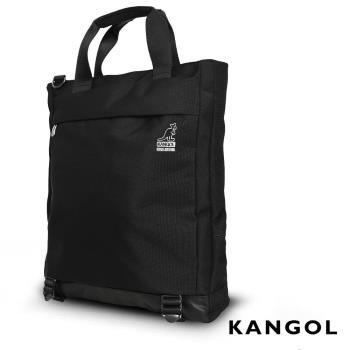 KANGOL  英式簡約商務大容量機能手提/肩背/斜背包 -黑色