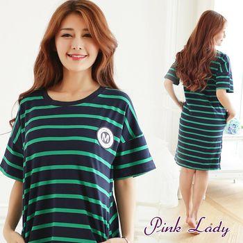 PINK LADY 簡約徽章 短袖條紋睡裙1001(綠)