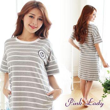 PINK LADY 簡約徽章 短袖條紋睡裙1001(灰)