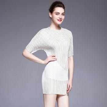 糖潮 圓領條紋拼接包臀壓摺中袖連衣裙
