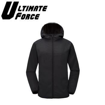 Ultimate Force「動力」連帽防潑水外套(黑色)
