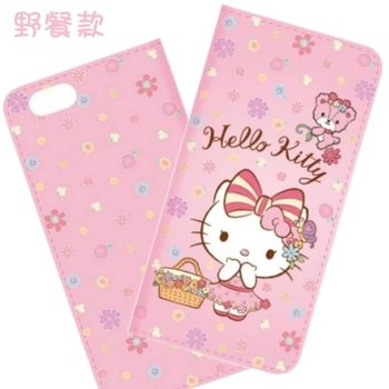 【Hello Kitty】iPhone 7 (4.7吋) 戀愛系列彩繪可站立皮套(野餐款)