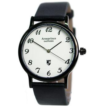 Arseprince-極簡風尚超薄黑色皮革中性錶-黑